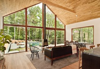 The great room in the 2,800-square-foot house that architect Drew Lang designed for his family in the Hudson Woods development north of New York City features generous amounts of white oak, which he says is his favorite material.