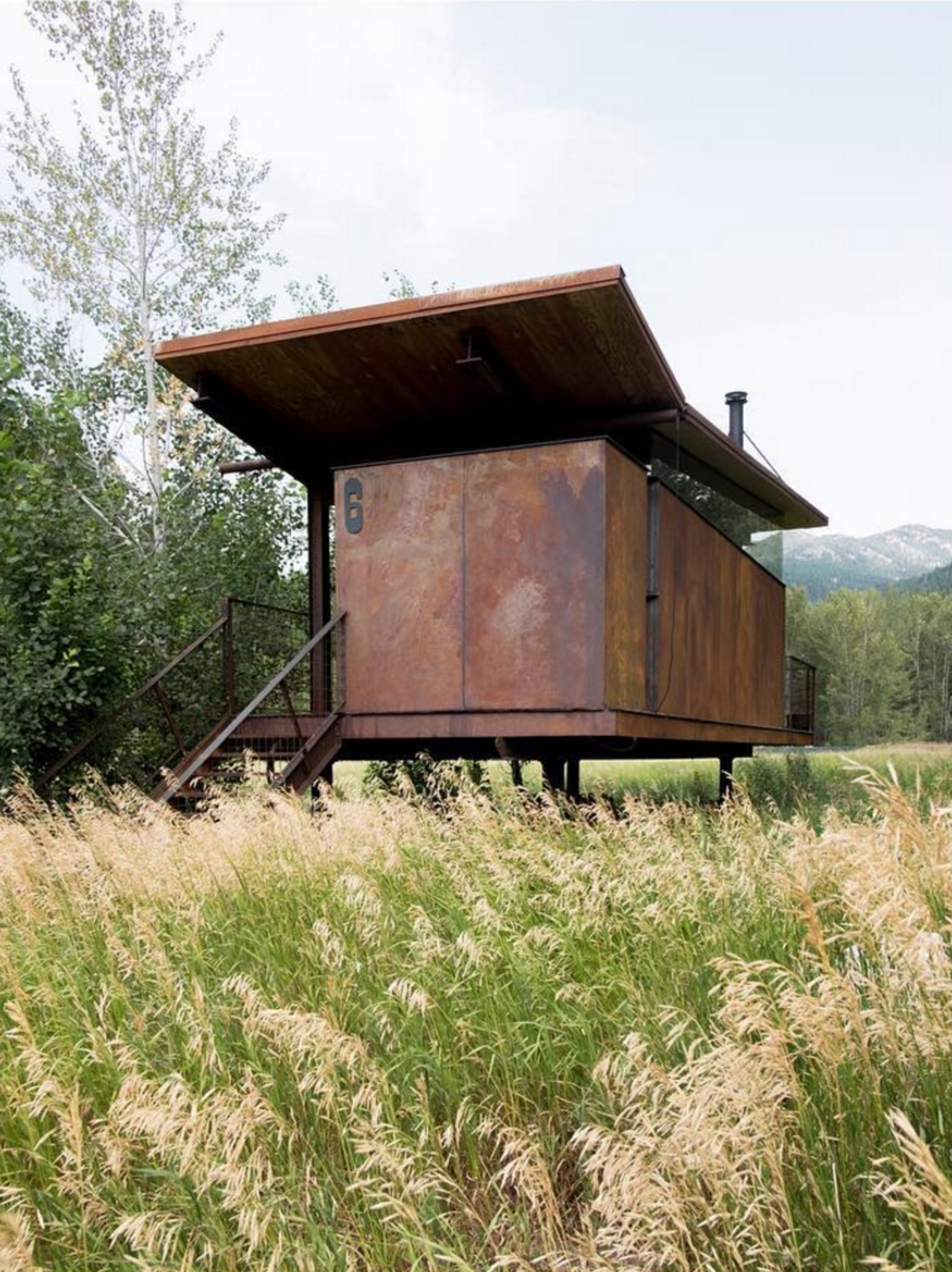 Exterior, Cabin Building Type, Metal Siding Material, Butterfly RoofLine, and Metal Roof Material Rolling Huts by Olson Kundig  There are a lot reasons to follow Olson Kundig on Instagram. One of them is their seminal Rolling Huts project.  Photo 81 of 101 in 101 Best Modern Cabins from Like, Follow, Comment! We Love These Homes on Instagram