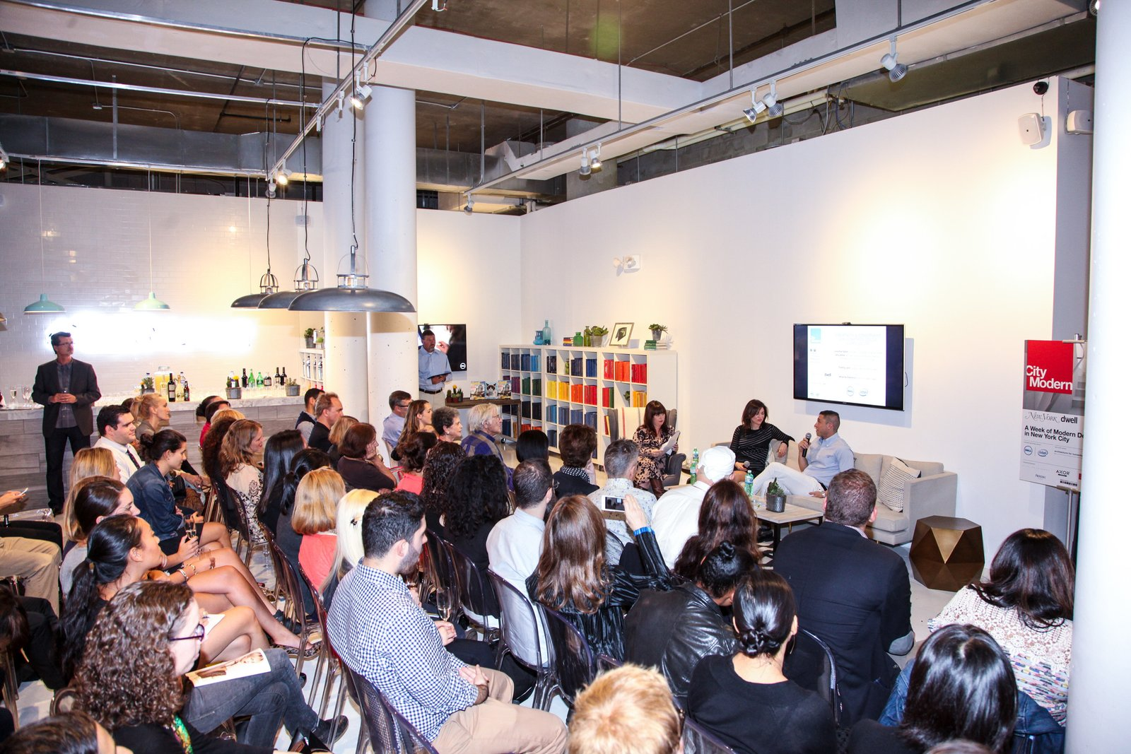 Guests listen in on the intersection between design authorship and inspiration with designer Jonathan Adler and his sister, art law specialist Amy Adler. Photo Courtesy Stephen Lovekin and Don Bowers.  Photo 8 of 13 in Dwell Celebrates Another Successful City Modern