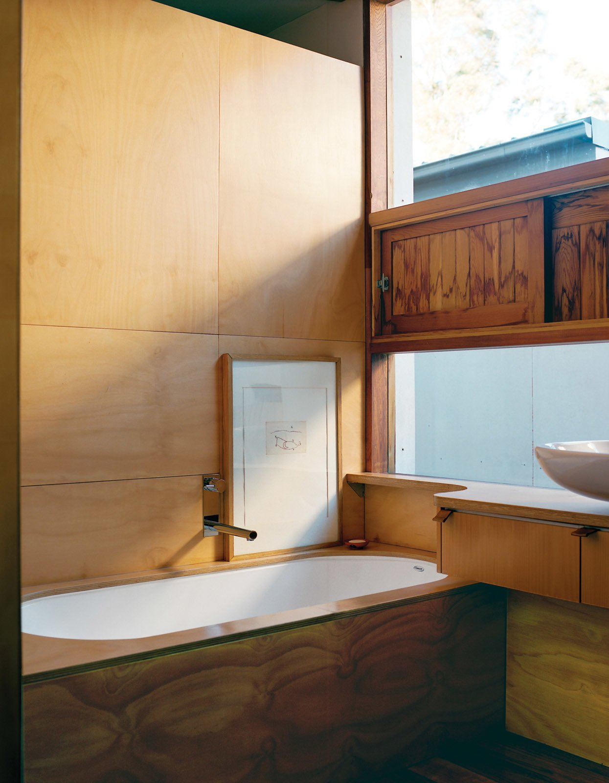 Bath Room and Wood Counter Like many traditional Japanese bathrooms, Wilkin and Pini's is clad almost entirely in wood.  Photo 5 of 8 in Almost Perfect