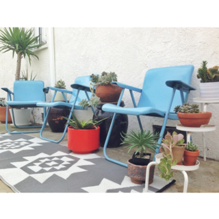 Photo of the Week: DIY Backyard with Blue Chairs and Succulents