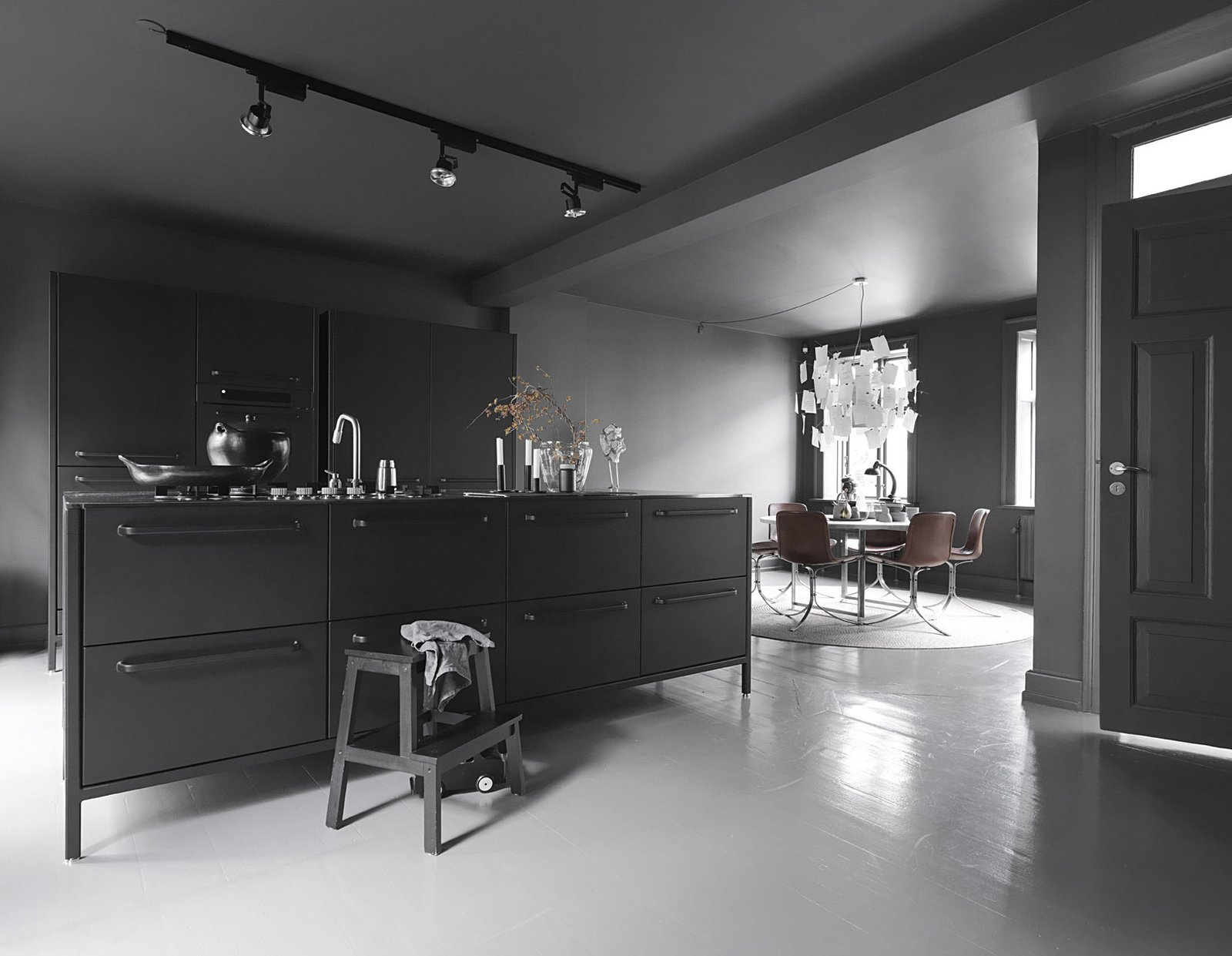 Black, White, and Gray All Over: Monochromatic Copenhagen Townhouse