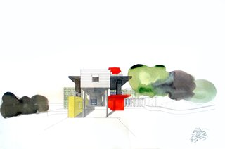 Corresponding with Sottsass and his team throughout the construction process, the couple have held on to many of the process documents, including this watercolor from 1989.