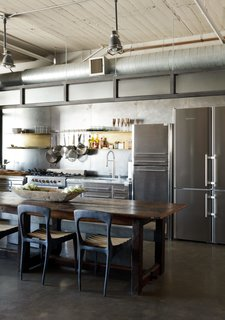 A designer carved out this industrial-chic kitchen in a downtown Los Angeles apartment.