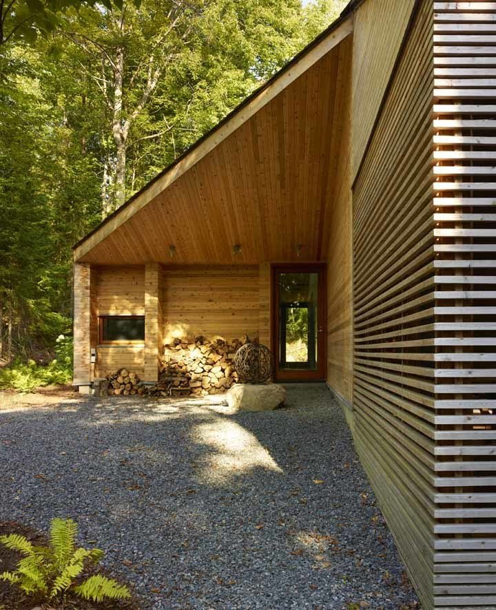 Using wood as the primary building material imbues an aesthetic warmth to the structure. It's also cost-effective, considering the abundance of Canada's natural timber resources and strong local carpentry trade. Photo by Shai Gil.  Stealth Cabin by Kelsey Keith