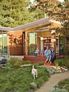A 1950s Joseph Esherick home in Berkeley, California, inspired an addition that pays homage to the past yet is poised to host the next generation. In need of more room for their growing brood, Eric and Emma Gimon, with Luc, Paul, baby Louise, and their dog, Nefi, asked for a private space to accompany the house designed for Eric's great-aunt.