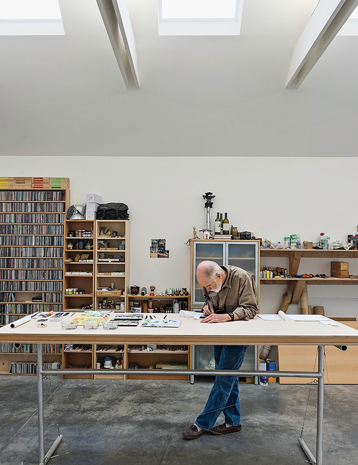 Shed & Studio, Storage Space Room Type, Den Room Type, and Sun Room Room Type Brothers's workspace uses skylights to let in sun. The lack of windows helps him focus on his craft.  Photo 8 of 18 in Idyllic Home Designed for an Artist