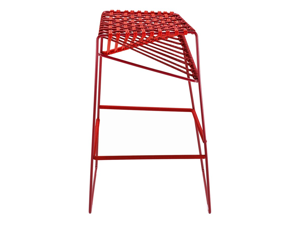 Emilio Nanni designed the Twist bar stool for Zanotta. With a steel frame and polyester cord, the perch is durable and sculptural.  Design Trend to Watch: 3-D Weaving by Diana Budds