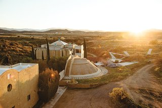 The ribbon-like Lean Linear City: Arterial Ecology. <br><br>Images courtesy Arcosanti.
