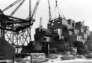 Construction took place from 1964 to 1967. The original project was adapted from Safdie's graduate thesis at Montreal's McGill University.