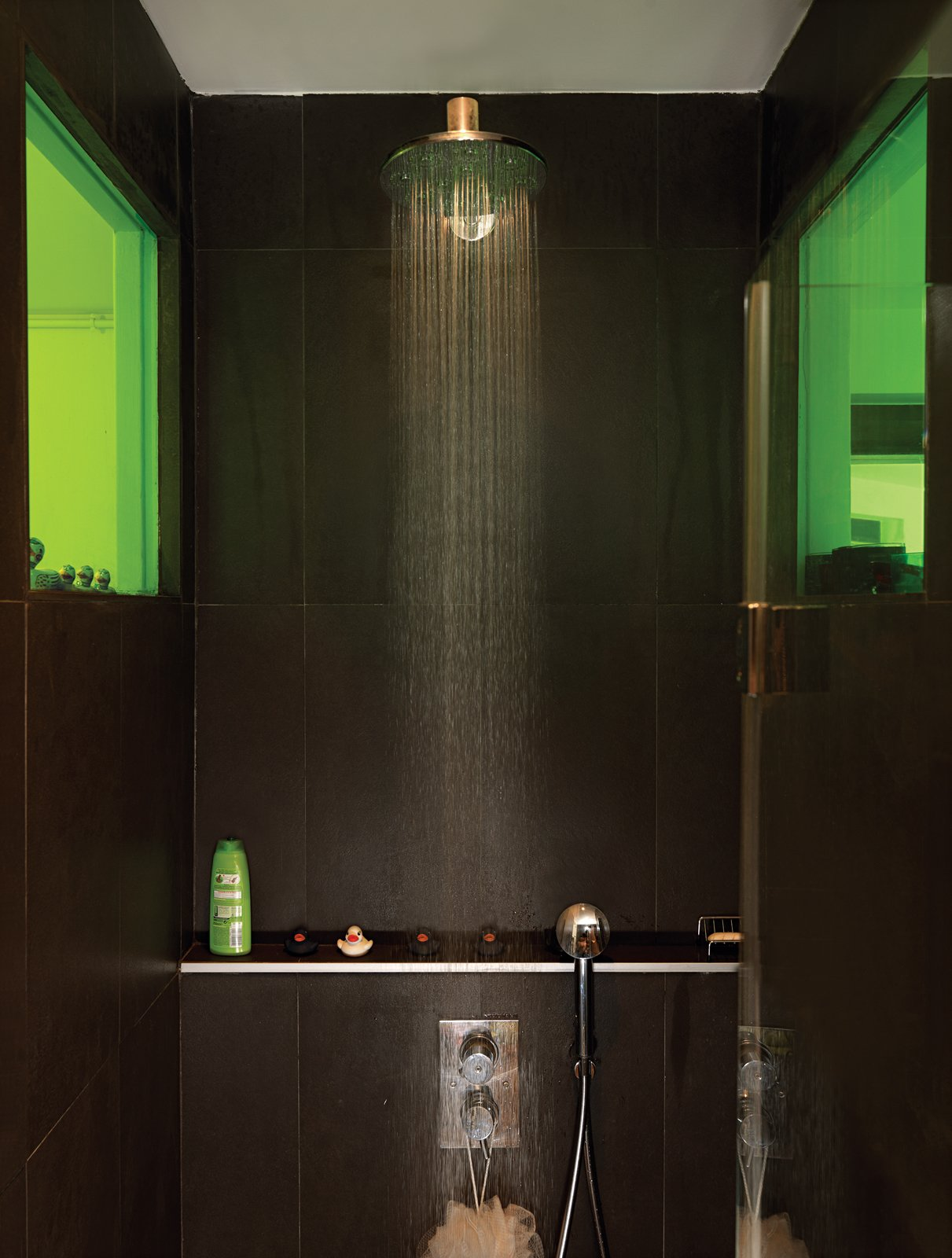 To create a sense of visual connection, Vinciguerra and Santiard set a colored window between the two rooms. They spent days making sure that the green transparency would meld nicely with the shade of green on the kitchen shelves.  Photo 4 of 9 in 9 Unusual Modern Bathrooms from Shelf Life