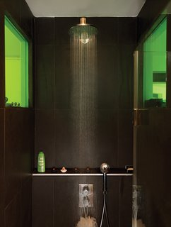 Tips for Tiny Bathrooms - Photo 2 of 12 - To create a sense of visual connection, Vinciguerra and Santiard set a colored window between the two rooms. They spent days making sure that the green transparency would meld nicely with the shade of green on the kitchen shelves.