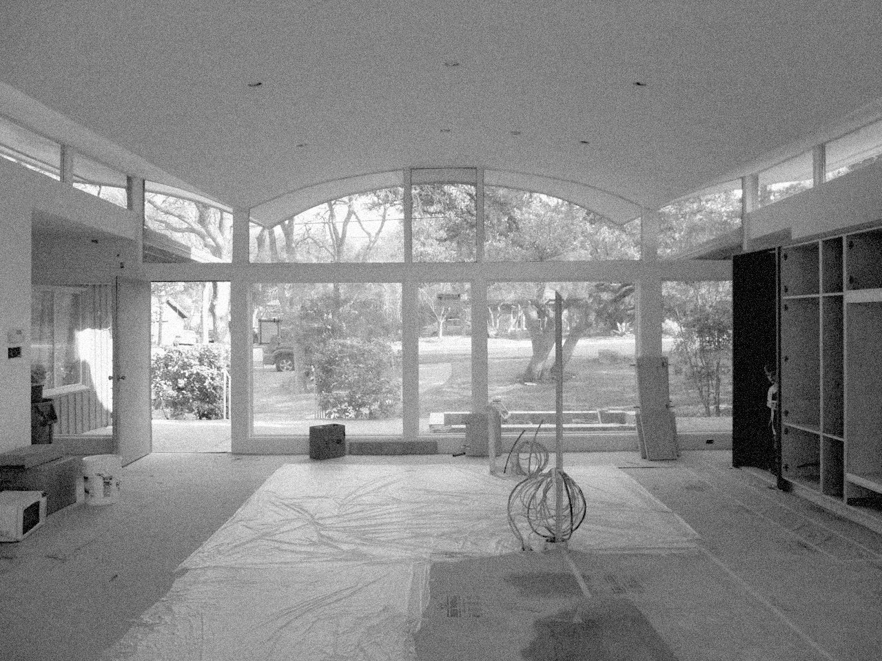 An in-process shot of the central living space shows the bones of Stenger's design.  Photo 7 of 11 in A Renovated Midcentury Gem in Austin