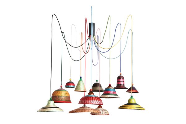 His hanging lights sport textile-like lampshades made from recycled plastic scraps.