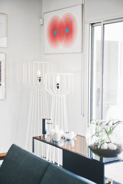 Two of his white powder-coated Wired lights are shown in situ in his Los Angeles home.