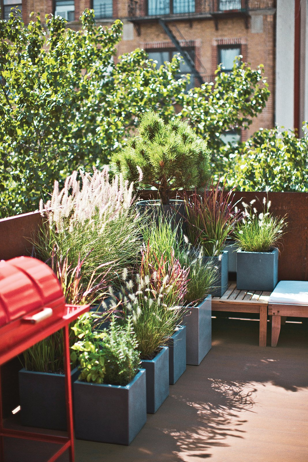 Outdoor, Planters Patio, Porch, Deck, and Trees A barbecue from Alabama Joe's is much used in the warmer months.  Photo 4 of 13 in Get Your Tongs Ready For the Long Weekend With 13 Outdoor Spaces Made For Grilling from A Brooklyn Couple Rehabilitate a 19th-Century Duplex