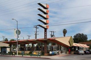 An original Googie-style building, Norms La Cienega, in Los Angeles, circa 2011.