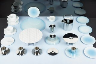 Tea with Georg is a 2013 collaboration that Scholten & Baijings did with revered Danish silversmith Georg Jensen. The collection combines old craft techniques (hand metalwork, fine surface finish) with digital design (gradients and grids applied as pattern on porcelain and etched onto stainless steel).