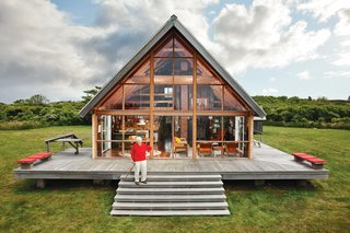 The late, renowned designer and architect Jens Risom sourced parts from a catalog for his custom A-frame and had them delivered in pieces to his remote island site off Rhode Island.