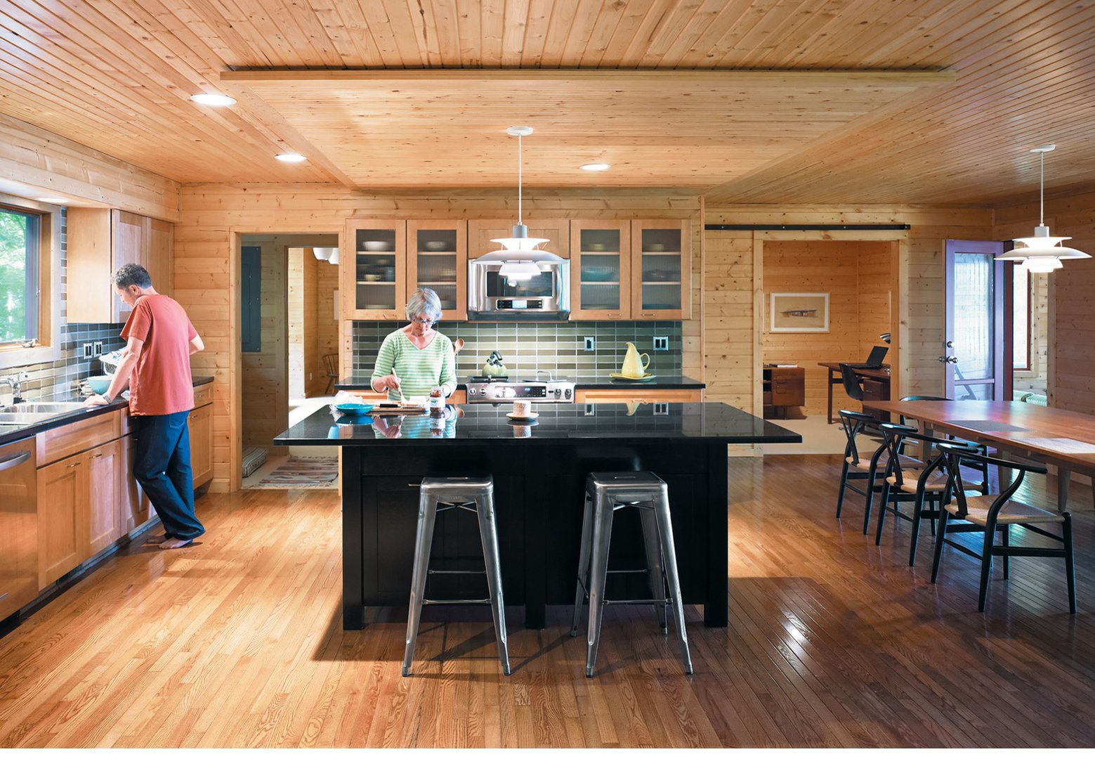 A Ranch House Kitchen RenovationFor their   lakeside retreat in northwestern Michigan, Keith and Mary Campbell renovated a 1970s ranch house to include a spacious kitchen-dining room.  Photo 1 of 1 in A Ranch House Kitchen Renovation