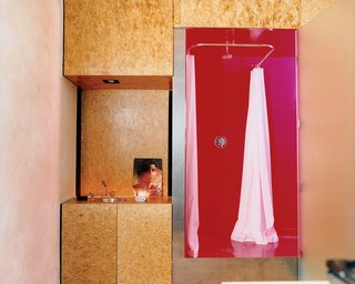 The Trzebiatowskis' bathroom retains the spirit of Arizona heat with its shocking magenta ceilings, floors, and walls. The vanity is anything but—opting for art instead of a mounted mirror—and is made from sanded and sealed oriented strand board (OSB), a waste material typically used in framing.
