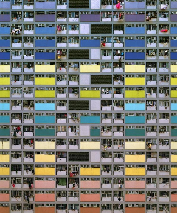 Wolf exhibits large prints that are either 48 by 64 inches or 70 by 90 inches, emphasizing the immense scale of the buildings. Photo by Michael Wolf, courtesy of the Flowers Gallery.  Photo 7 of 7 in Megacity Living in Hong Kong: Architecture of Density