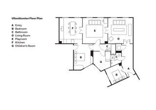 Ullevålsveien Floor Plan<br><br>A    Entry <br><br>B    Bedroom<br><br>C    Bathroom<br><br>D    Living Room<br><br>E    Playroom<br><br>F    Kitchen<br><br>G    Children's Room