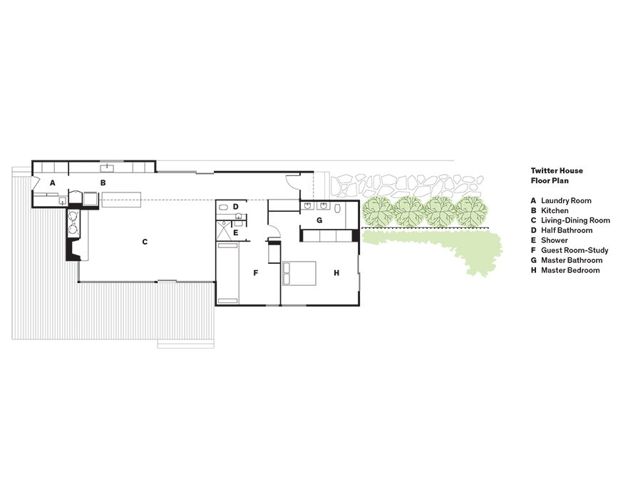 Twitter House Floor Plan  A    Laundry Room  B    Kitchen  C    Living-Dining Room  D    Half Bathroom  E    Shower  F    Guest Room-Study   G    Master Bathroom  H    Master Bedroom  Photo 10 of 11 in Modern Lakeside Retreat Stripped Down to the Basics