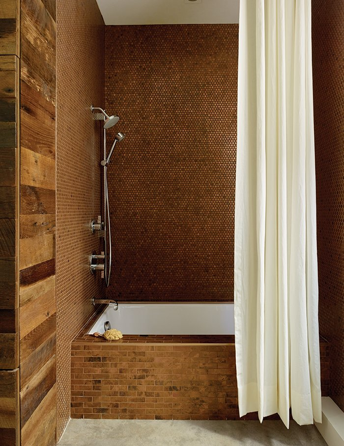 Bathroom Design Idea: Copper Color Scheme