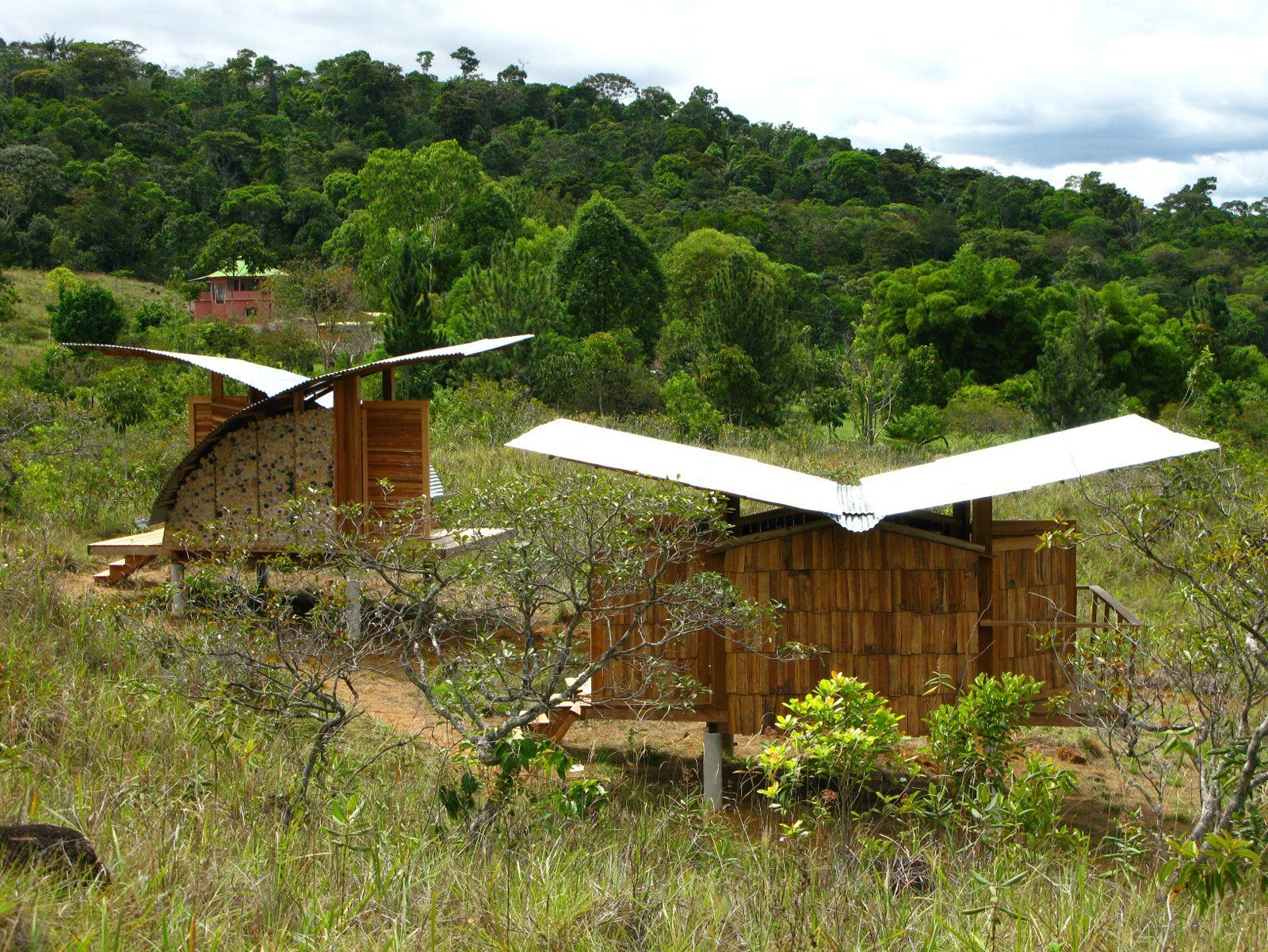 Two housing models perch lightly in a field, both featuring gently curved, rainwater-catching butterfly roofloines.  Photo 5 of 13 in Venezuela's Eco Cabanas