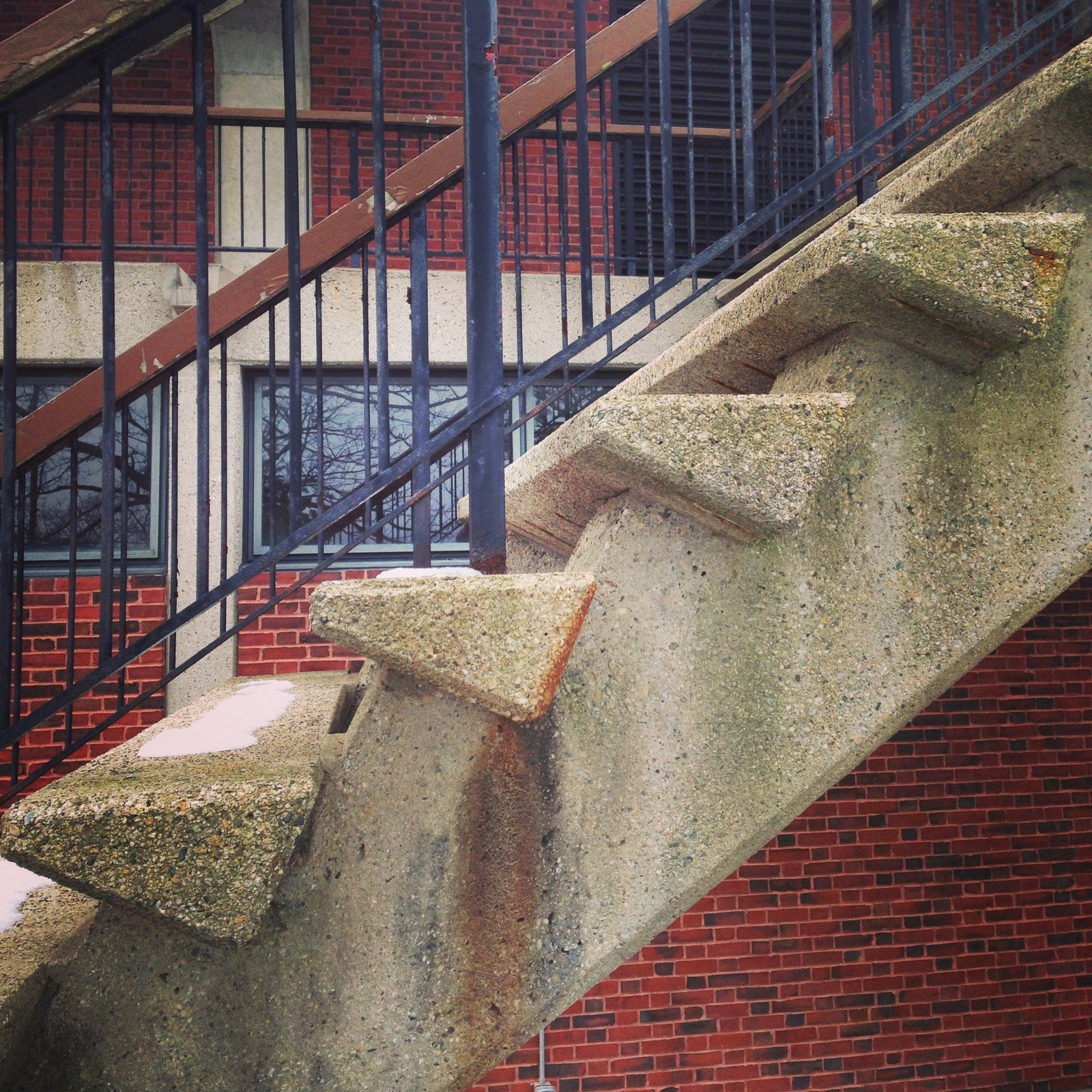 Detail of the concrete exterior staircase. The second level of the theater can be accessed, and circumnavigated, from several points. Photo by Alexandra Lange.  Photo 11 of 14 in Architecture Tour: Brandeis Modern