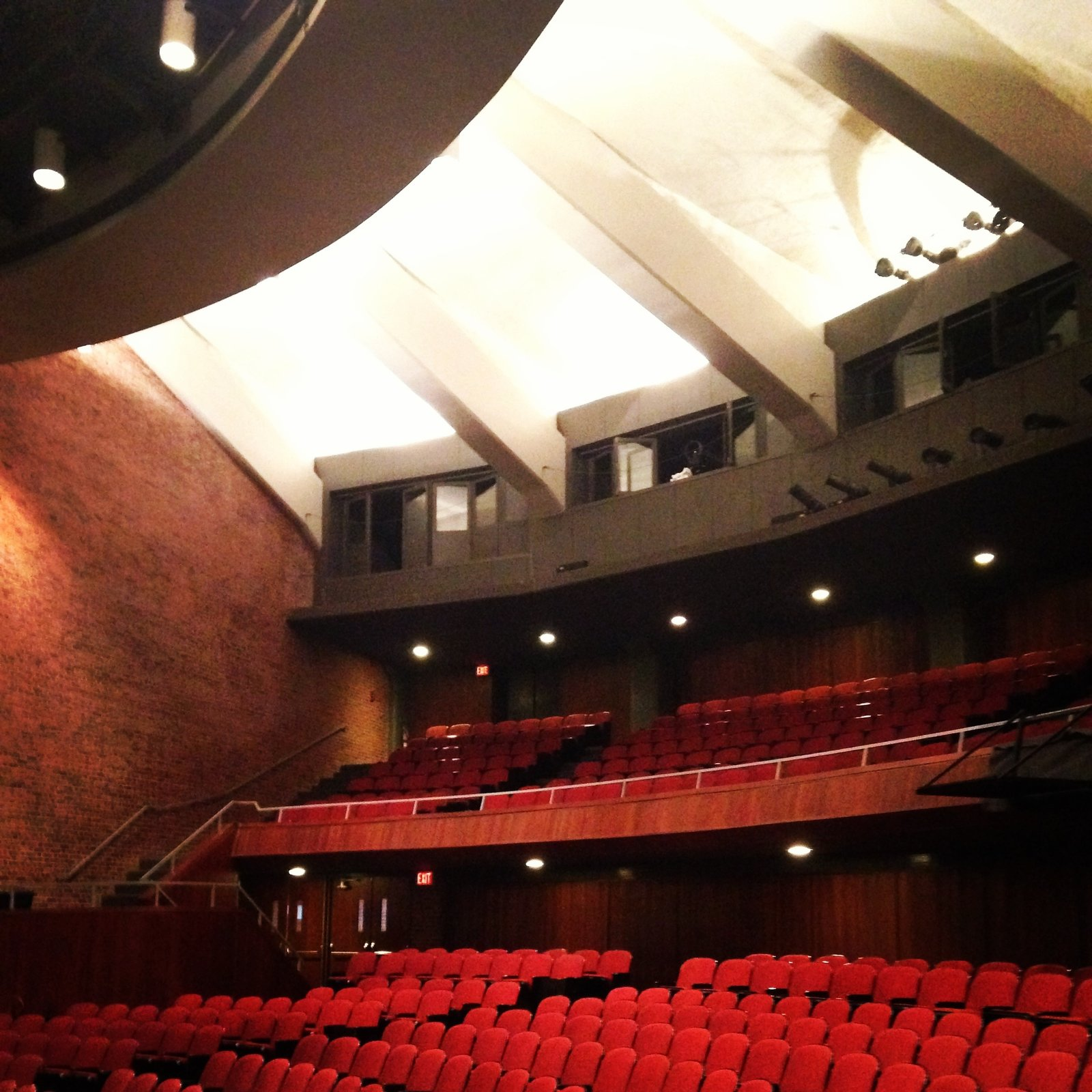 Interior of the main auditorium, showing the inside effects of the scalloped concrete clerestory. Photo by Alexandra Lange.  Photo 12 of 14 in Architecture Tour: Brandeis Modern