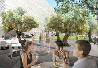 A restaurant beind developed in partnership with the dining entrepreneur Bill Chait will occupy a freestanding structure at one end of the plaza. The honeycomb-like concrete-and-steel facade of the museum building, designed by Diller Scofidio + Renfro, can be seen in the background. Image courtesy of Diller Scofidio + Renfro.