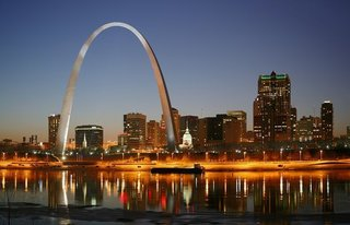Among the projects Roche and Dinkeloo completed after Saarinen's death was the Gateway Arch, 1965, in St. Louis.