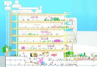 A cross-sectional rendering of the Pompidou Center in Paris, designed by Richard Rogers and Renzo Piano. Image copyright Rogers Strik Harbor + Partners, courtesy of the Royal Institute of British Architects.