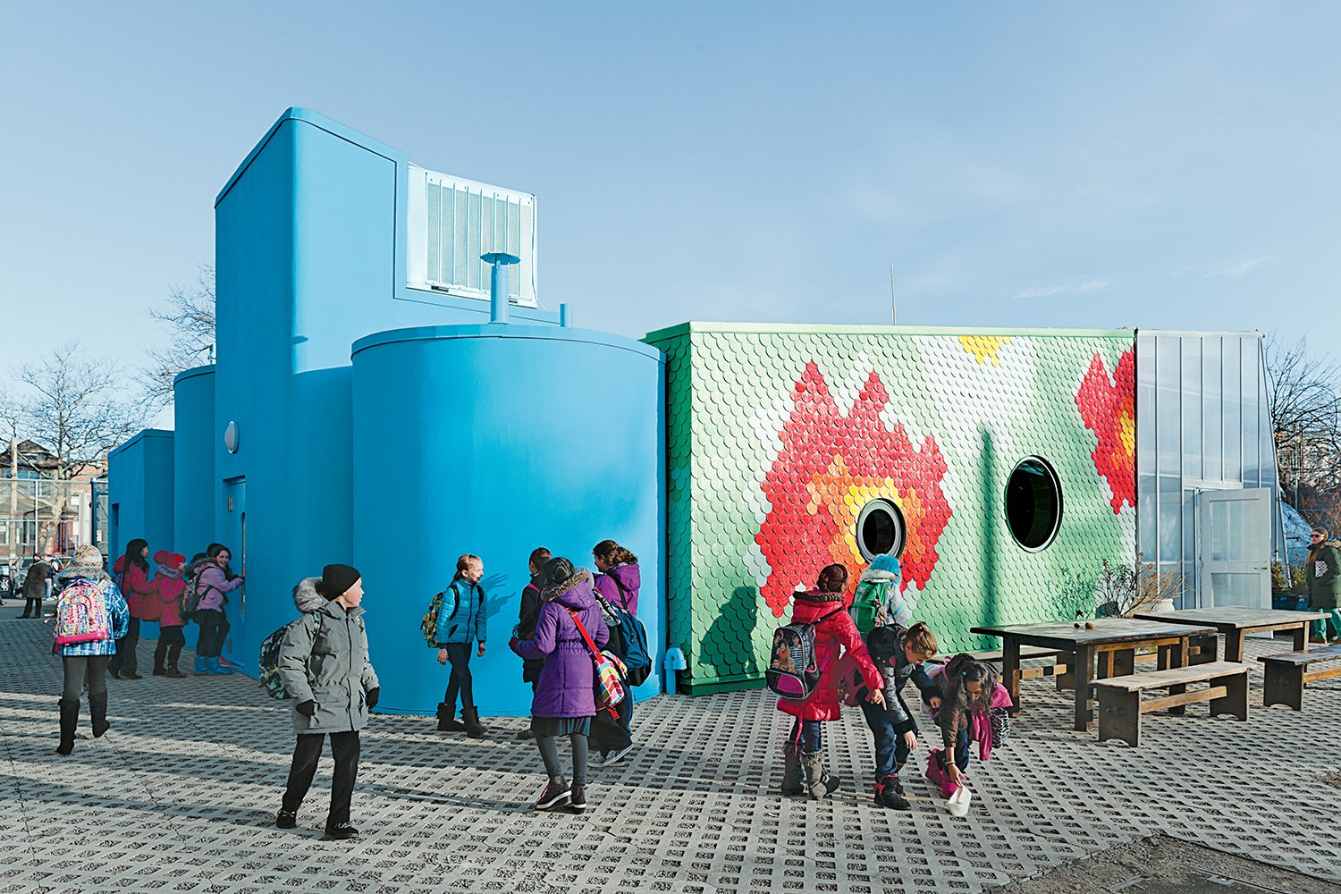 WORKac designed a teaching classroom at Brooklyn's P.S. 216 elementary school that channels runoff rainwater from its roof for reuse in its mobile greenhouse.  Photo 1 of 1 in Discuss: Should Design Be a Part of Elementary Education? from An Edible Learning Garden in Brooklyn