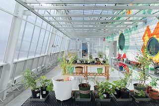 Pioneering chef Alice Waters's Edible Schoolyard programs has now spread to all 50 states. This one at P.S. 216 in Brooklyn opened in December 2013. WORKac, the New York architectural office of Amale Andraos and Dan Wood, designed the glowing structure with raised beds, a greenhouse, chicken coop, cistern, and an indoor kitchen classroom. It even channels runoff rainwater from its roof for reuse in its mobile greenhouse. A glass enclosure (left) slides off the main structure in warmer months to open up to the garden, which contains 1,600 square feet of soil.