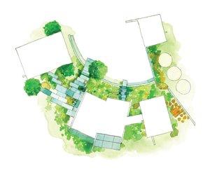 Butterfly House Floor Plan<br><br>A Entrance<br><br>B Dining Room<br><br>C Living Room<br><br>D Kitchen<br><br>E Bathroom<br><br>F Master Bedroom<br><br>G Bedroom<br><br>H Office<br><br>I Terrace<br><br>J Garage<br><br>K Cisterns<br><br>L Pavers