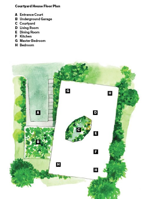 """The site plan.  """"They wanted a house that could be shared with family and friends for extended periods of time, and that downsized and deaccessioned their life."""" —Andrew Heid, architect  Photo 8 of 9 in This House Gets Better with Age"""