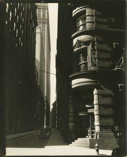 Berenice Abbott. Cedar Street from William Street, Manhattan, March 26, 1936. Gelatin silver print; printed c.1936