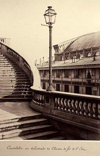 Charles Marville. Candelabre sur balustrade du Chemin de fer de l'Est, 1865-69. Albumen print from a wet-collodion negative; printed c.1865-69.