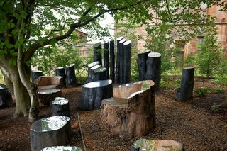 Gartnavel garden. Art installation by Archie McConnel. Architect: Rem Koolhaas, OMA. Landscape Architect: Lily Jencks. © Nick Turner.