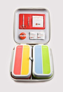 Falck, a Danish health care company, worked with Designit to redesign the standard first-aid kit. The simple, colorful kit presents an intuitive visual representation of the materials contained within, making it easy use in an emergency. It is divided into four easily accessible sections representing four common first-aid needs: burns, bleeding, bruises, and sprains. Image courtesy of Designit.