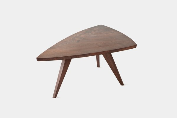 1. Splay-Leg Table   Impressed by the simple elegance and understated forms of his work, Hans and Florence Knoll added Nakashima's work to their roster. This table was designed  in 1946 with a low-sheen finish and live grain patterns. Photo courtesy George Nakashima Woodworker, S.A.
