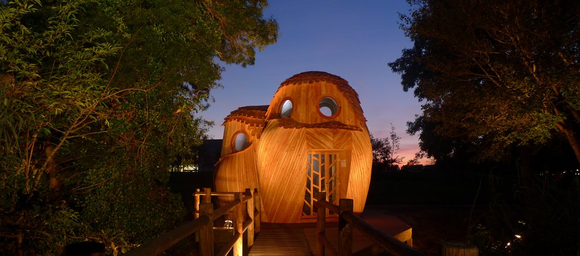 """This towering, owl-shaped wooden structure is called """"les guetteurs"""" (watchman).  Photo 4 of 8 in Tiny Vacation Shelters in the French Countryside"""