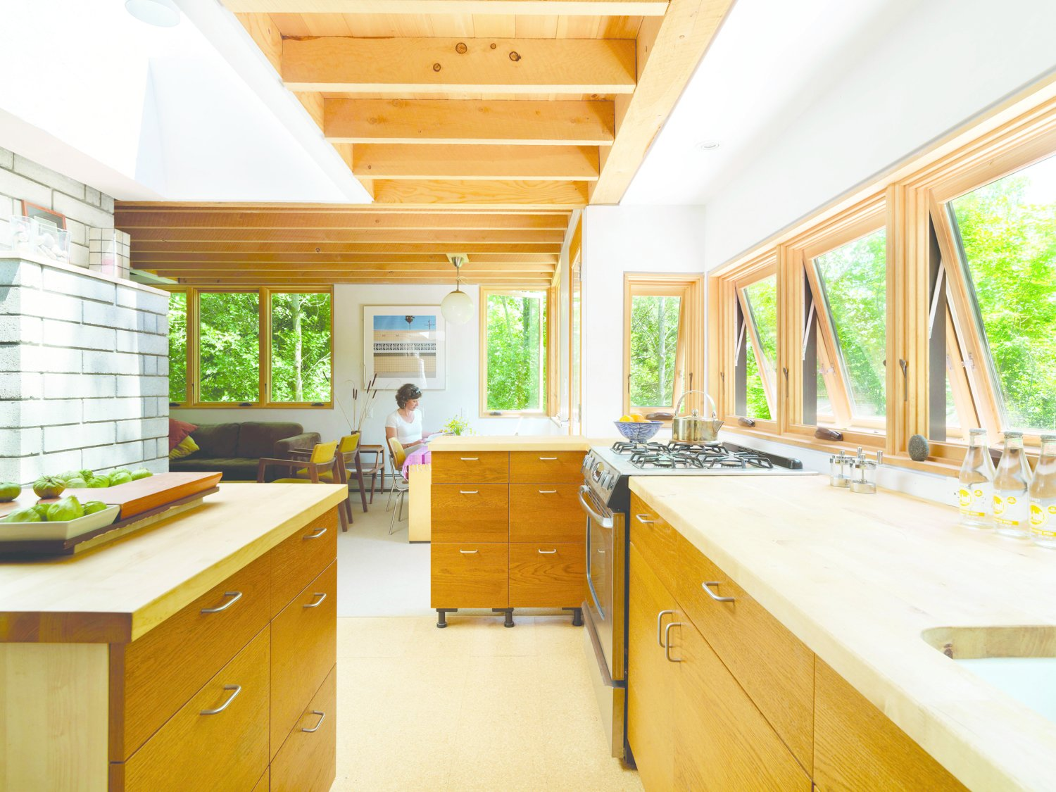Daylight adds to the warm ambiance of the wooden millwork of the Nature Preserve House kitchen.  Photo 6 of 8 in McLeod Kredell: Locavore Architects in Vermont