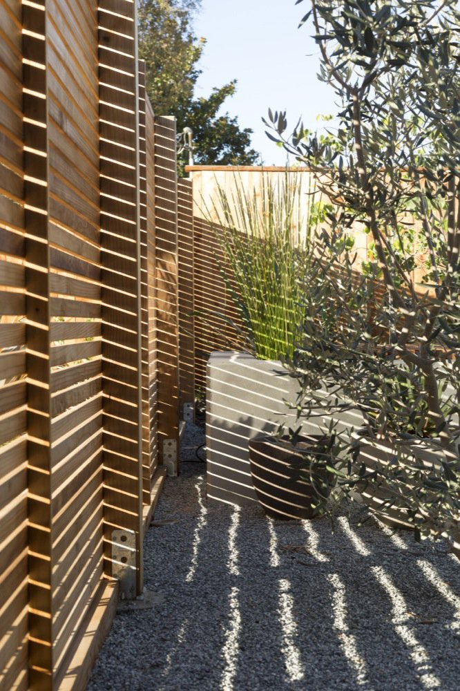 Outdoor, Front Yard, Vertical Fences, Wall, Wood Fences, Wall, and Raised Planters A key aspect of the renovation was ensuring the privacy of the resident, whose frontyard formerly exposed the home to the road. At five feet high, this slatted fencing encloses just enough: providing privacy without isolating the home from its setting. Photo by: Scott Hargis  Photo 8 of 9 in A Renovated Eichler Home in San Rafael, California