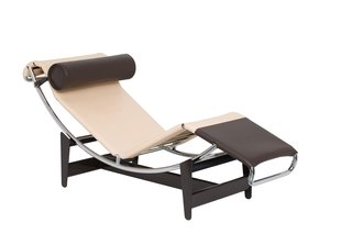 """The limited-edition LC4 CP chaise longue, based on Perriand's original LC4, indtroduced in 1928. It features a self-supporting mattress attached directly to its frame. Le Corbusier dubbed the original LC4 the """"relaxing machine"""" becuase of the way it reflected the natural human form for maximum comfort. Image courtesy of Cassina."""