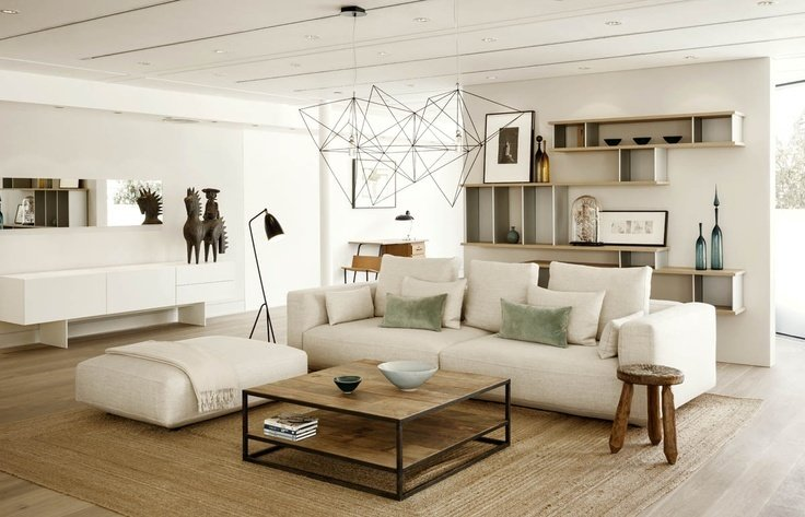 In The Conran Shop, Marylebone, a Piano Alto modular sofa is matched with a jute rug, Prism chandelier designed by Nathalie Dewez, and a Greta Grossman Grasshopper floor lamp. Photo: Paul Raeside  Photo 7 of 8 in Design Icon: Greta Grossman from Chat with Jasper Conran of The (New) Conran Shop
