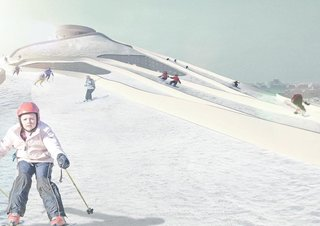 A rendering shows the skiers in action. Image courtesy of the Bjarke Ingels Group.